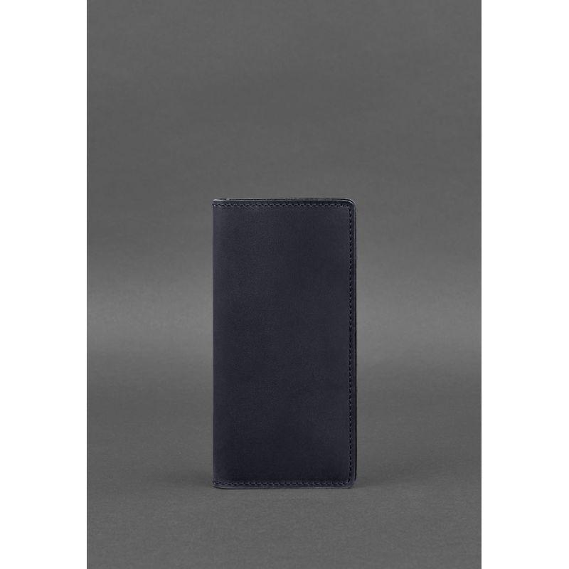 Кожаное портмоне-купюрник 11.0 темно-синее Crazy Horse
