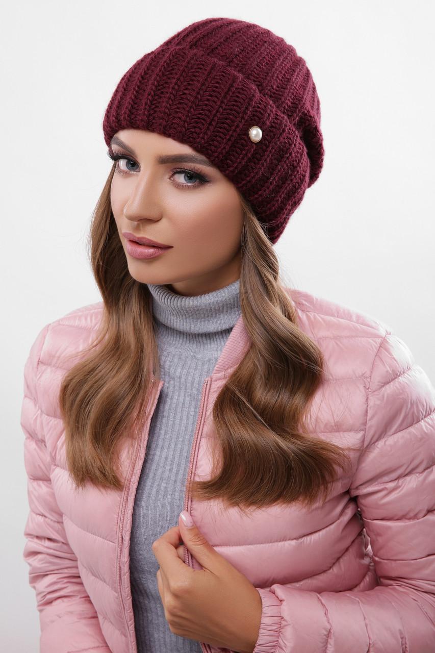 Молодежная стильная шапка вязаная с отворотом цвет марсала