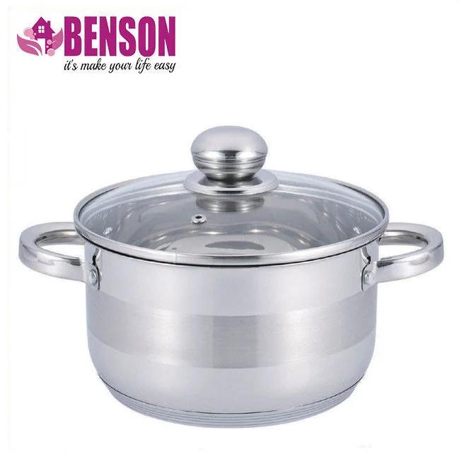 Кастрюля с крышкой Benson BN-217 на 1,8 л из нержавеющей стали