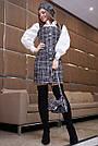 Офисное платье женское, размеры от 42 до 48, твид, чёрное в клетку, фото 4
