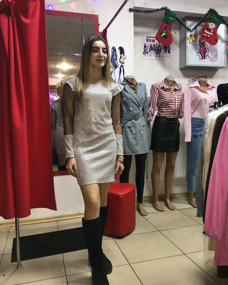 Платье праздничное серебряное