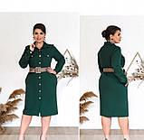 Платье женское в стиле рубашки, приталенное зеленое, фото 3