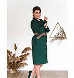Платье женское в стиле рубашки, приталенное зеленое, фото 2