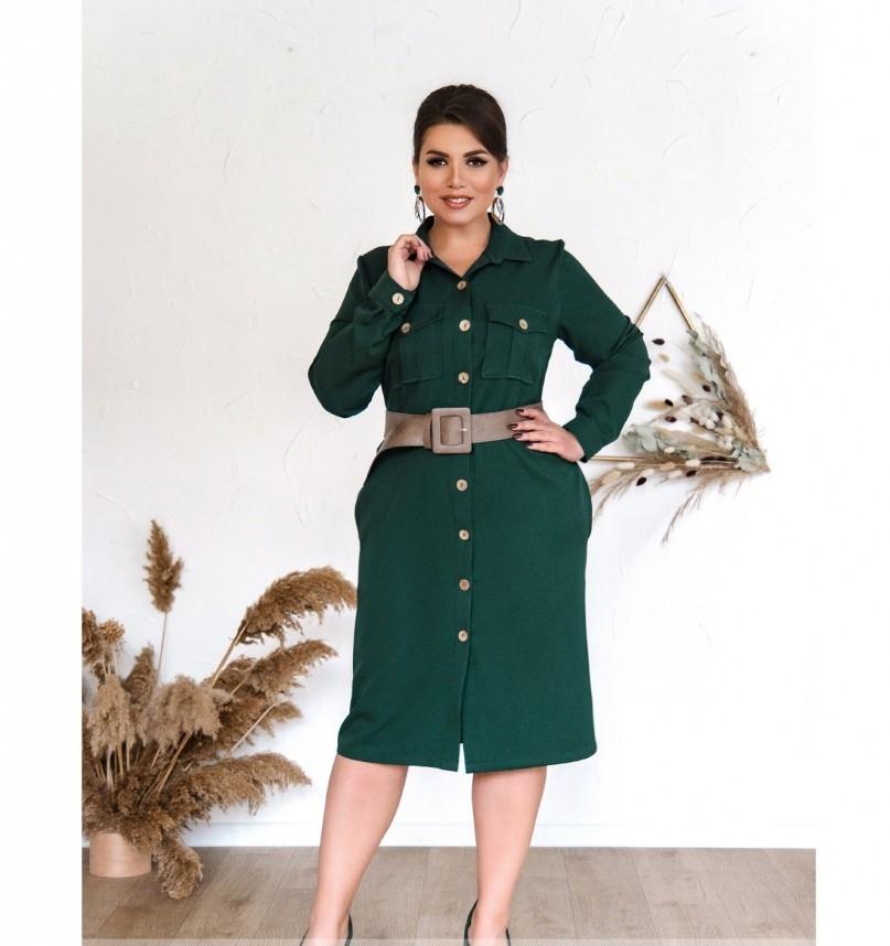 Платье женское в стиле рубашки, приталенное зеленое