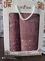 Набор махровых полотенец хлопок 50*90 и 70*140 TM By Ido Турция  сиреневый