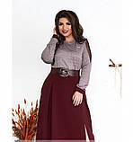 Платье женское большого размера цвет-бордо, фото 3