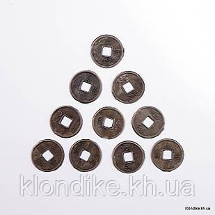 Монетки металлические, Круглые, 13 мм, Цвет: Бронза (50 шт.)