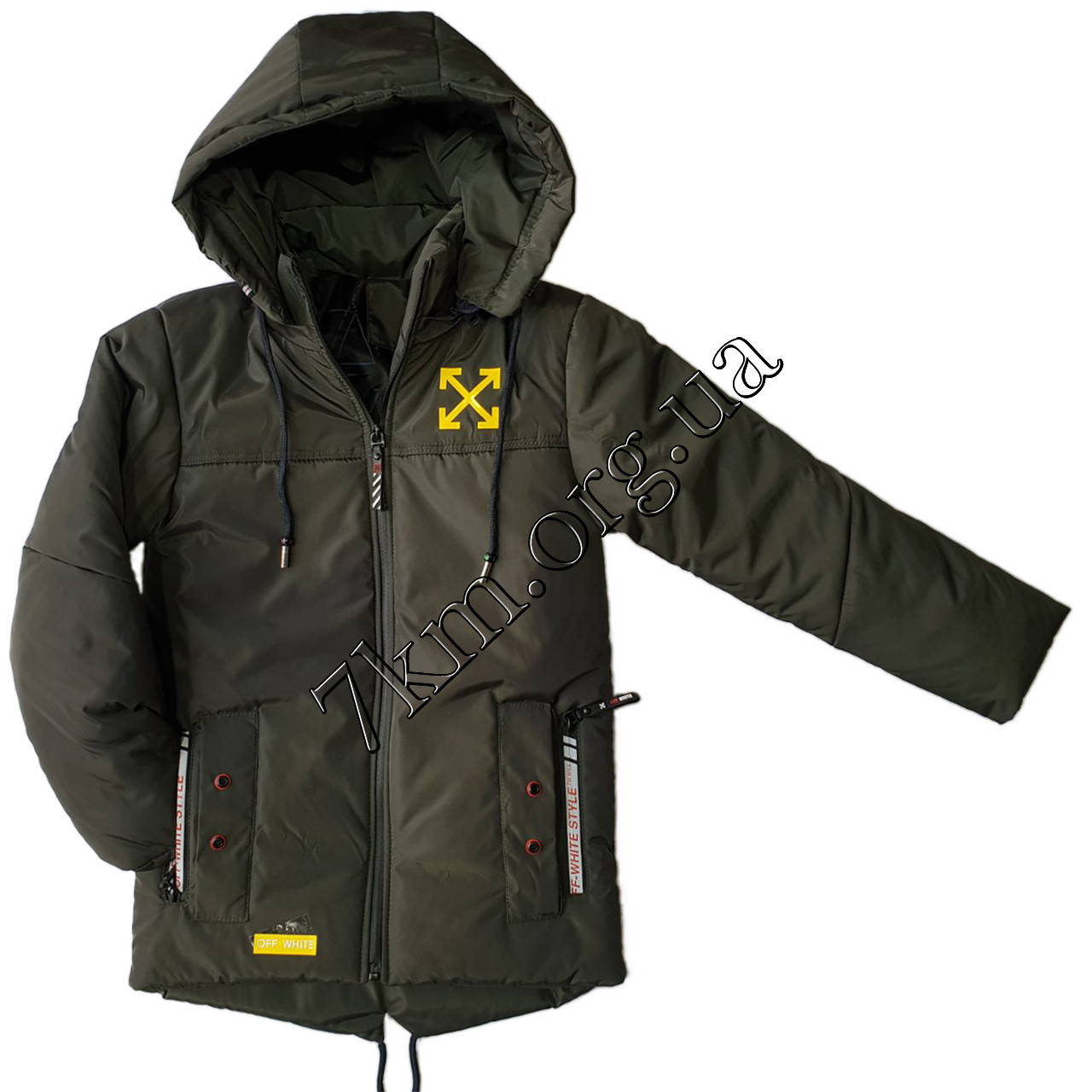 """Куртка детская оптом для мальчиков 5-9 лет """"реплика Off-White"""" 200106-3"""