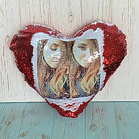 Печать на подушке-хамелеон (в форме сердца)