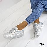 Кеды 39 размер идут на 38  белоснежные с сеткой +серебряные вставки А790, фото 2