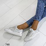 Кеды 39 размер идут на 38  белоснежные с сеткой +серебряные вставки А790, фото 4