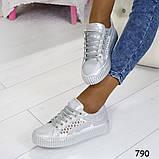 Кеды 39 размер идут на 38  белоснежные с сеткой +серебряные вставки А790, фото 5