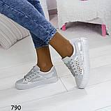 Кеды 39 размер идут на 38  белоснежные с сеткой +серебряные вставки А790, фото 8