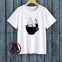 """Печать на футболках. Футболка с печатью """"Рыбалка в чашку чая"""""""