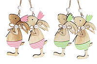 Набор пасхальных украшений на подвесе Кролики 12см, 2 вида,  24 шт