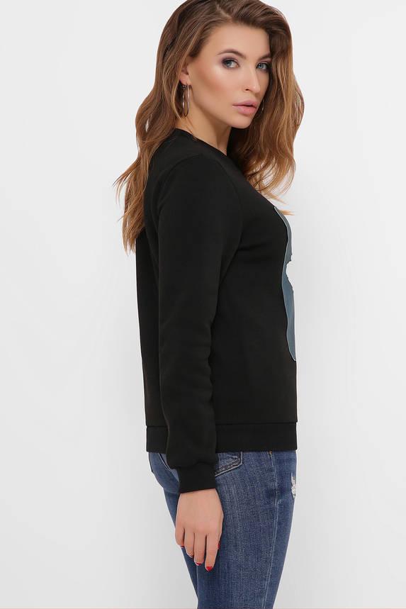 Модный женский свитшот с принтом черный, фото 2