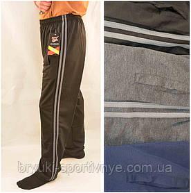 Брюки спортивные мужские трикотажные с полосками XL - 5XL Штаны повседневные Ao Longcom Черный цвет