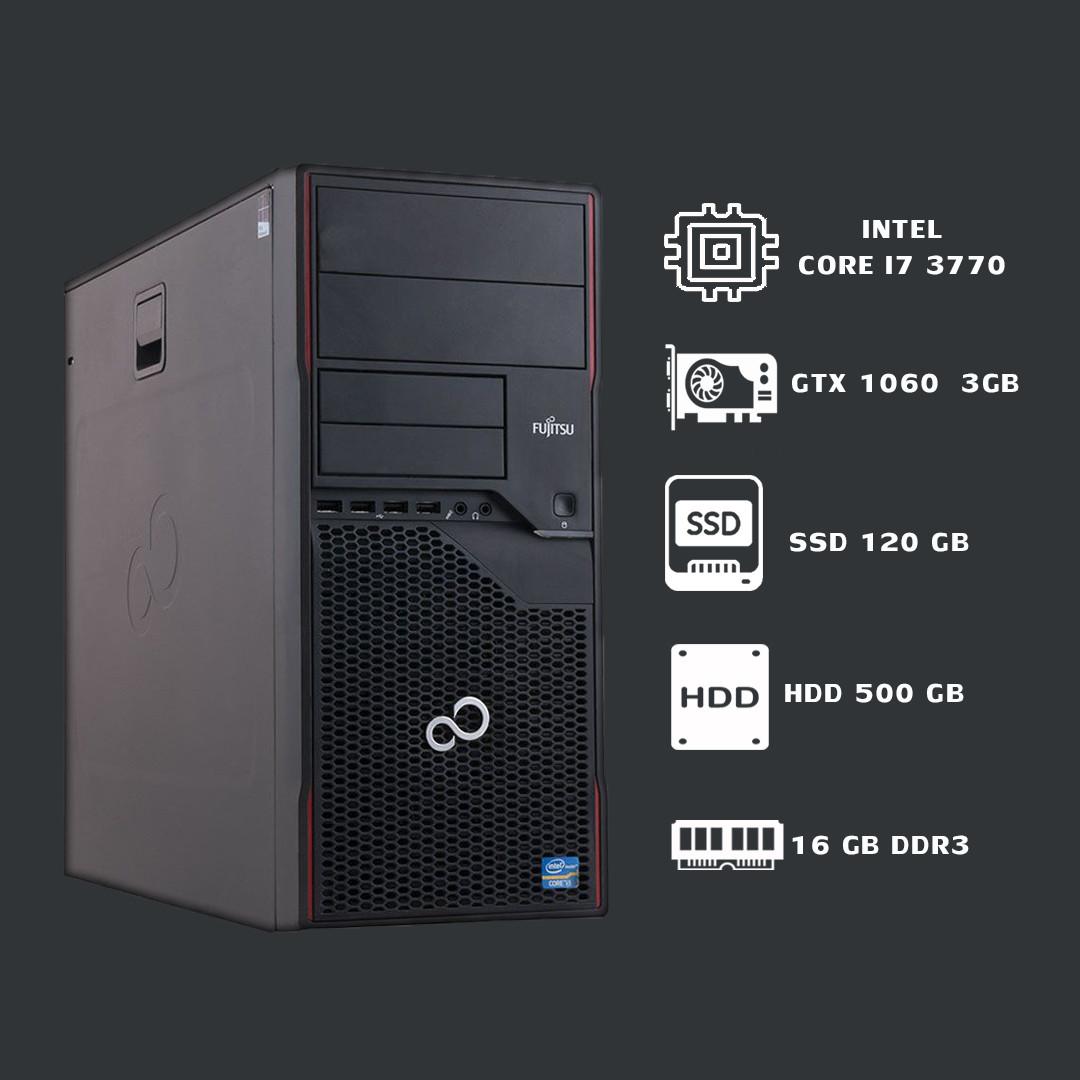 Игровой Компьютер Futjitsu intel core i7 3770+16GB+500GB+SSD120+GTX1060 3GB