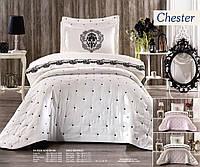 Покрывало на кровать с наволочками Chester Белоснежное с кремовым кантом 3