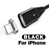 Магнитный кабель USB - Lightning для зарядки и передачи данных Черный 1 Метр
