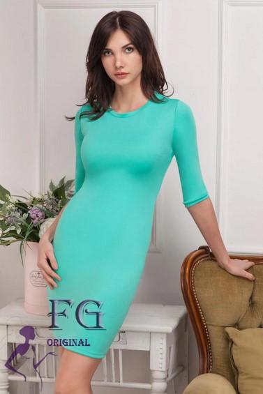 Модное короткое платье в обтяжку однотонное мята