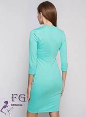 Модное короткое платье в обтяжку однотонное мята, фото 2