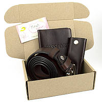 Подарочный набор №14: Ремень мужской + ключница + обложка на паспорт (коричневый)