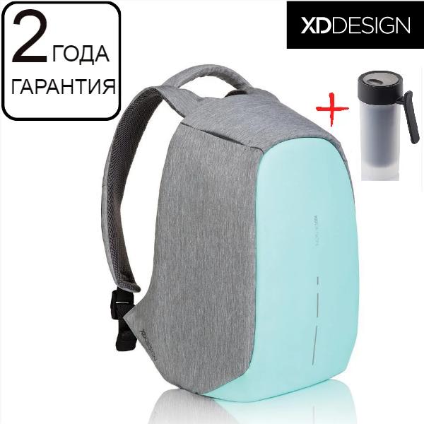 """Оригинал! Гарантия 2 года. Антивор рюкзак для ноутбука XD Design Bobby Compact Mint Green 14"""" (P705.537)"""