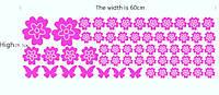 Наклейка виниловая Цветы и бабочки розовые 3D декор