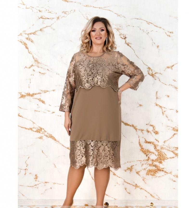Платье женское без застёжек батал цвет-бронзовый