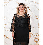 Платье женское без застёжек батал цвет-черный, фото 2