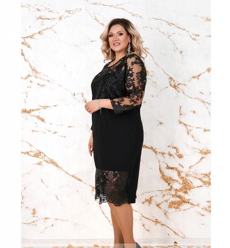 Платье женское без застёжек батал цвет-черный