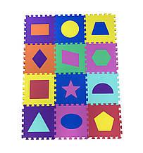 Коврик-пазл EVA , «Весела геометрія» набір 12 шт. 1,08 м2, 30х30 см, т. 10 мм  щ. 100 кг/м3 TERMOIZOL®