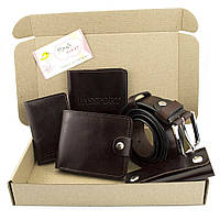 Подарочный набор №24: Ремень + портмоне + ключница + обложка на паспорт + на права (коричневый)