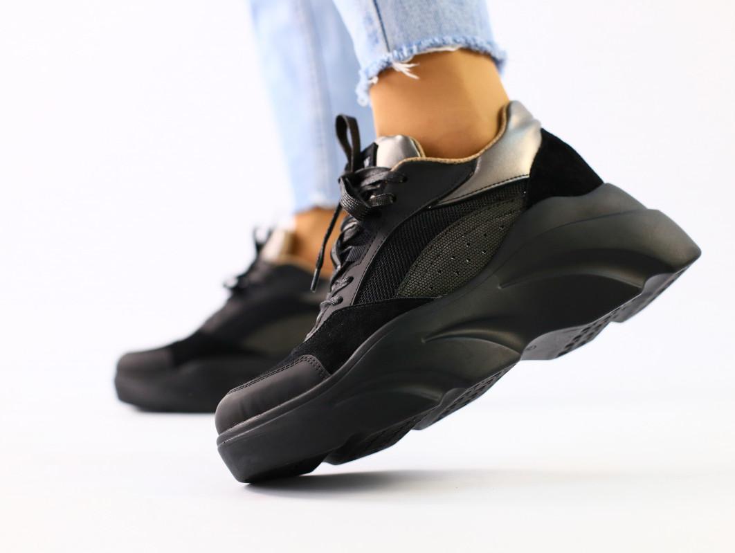 Женские черные кроссовки кожа и замш