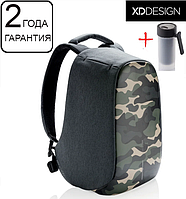 "Оригинал! Гарантия 2 года. Антивор рюкзак для ноутбука XD Design Bobby Compact Camouflage Green 14"" (P705.657)"