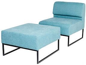 Кресло Лаунж Единица Со Спинкой+Единица Без спинки, ткань La Manche Turquoise (Richman ТМ)