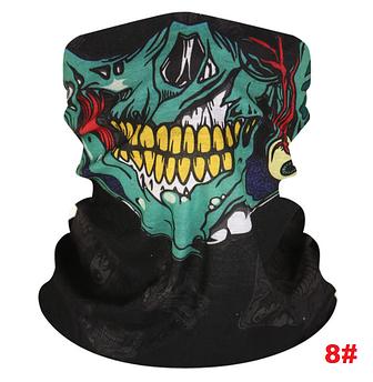 """Бафф с черепом """"Зомби"""". Маска skull. Универсальная маска, шарф, бандана. Баф на лицо шею и голову. Принт_8#"""