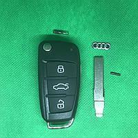 Выкидной ключ Audi (Ауди) - 3 кнопки с микросхемой 8PO 837 220D, с частотой 434 MHz ID48 chip Лезвие HU66