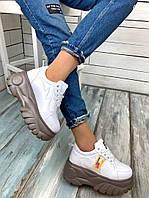 Кроссовки  женские демисезонные  белые  на платформе, фото 1