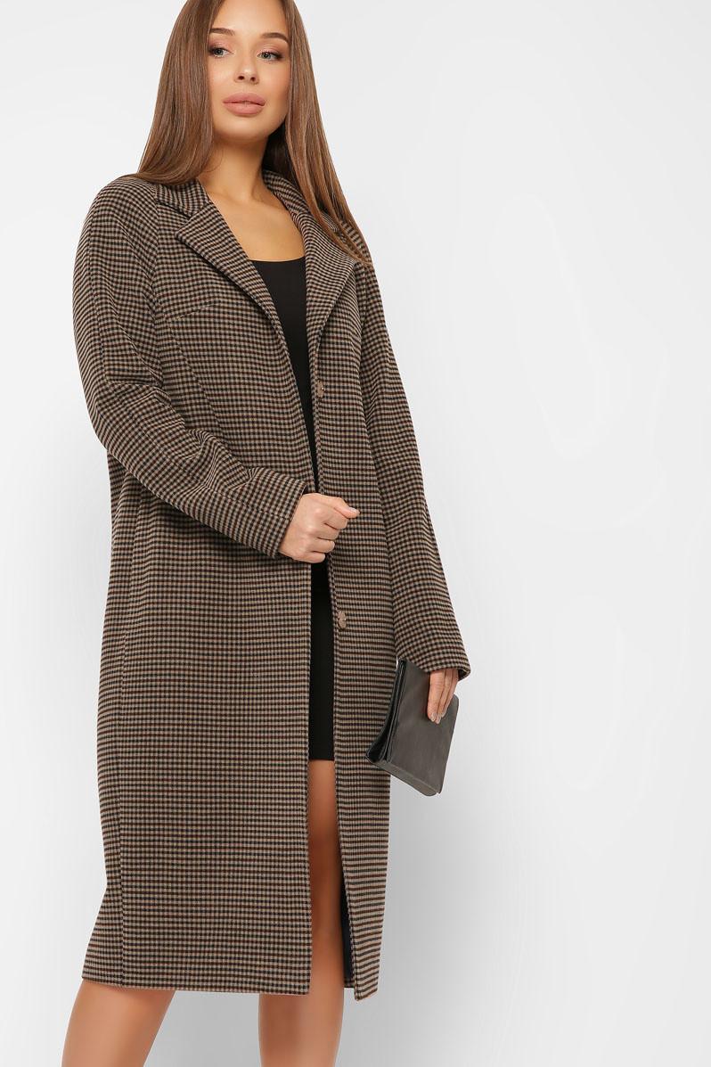 Женское шерстяное пальто весеннее коричневое