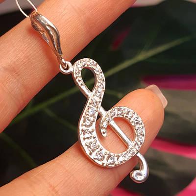 Срібний кулон Скрипковий ключ - Кулон Ноти срібло