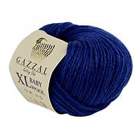 Пряжа Gazzal Baby Wool XL 802 (Газзал Беби Вул) Шерсть Акрил Синий
