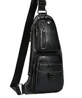 Мужская сумка через плечо Jeep 777 кожаная Черный