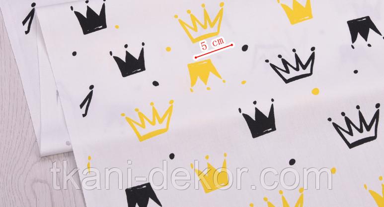 Сатин (хлопковая ткань)  желтые и черные короны новые