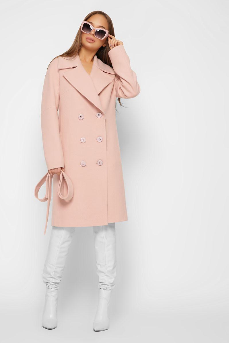 Женское кашемировое пальто демисезонное двубортное пудра