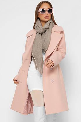 Женское кашемировое пальто демисезонное двубортное пудра, фото 2