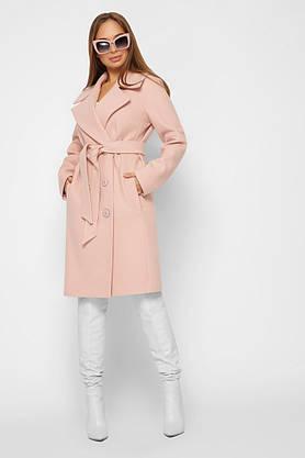 Женское кашемировое пальто демисезонное двубортное пудра, фото 3