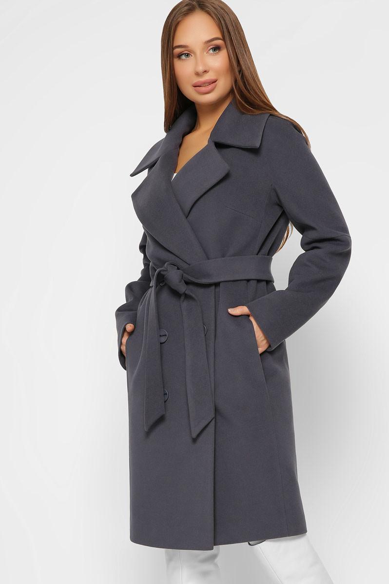 Женское кашемировое пальто демисезонное двубортное темно-серое