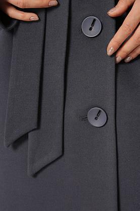 Женское кашемировое пальто демисезонное двубортное темно-серое, фото 3